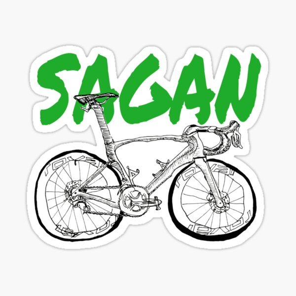 S-Works Sagan Green Jersey Fahrradzeichnung Sticker