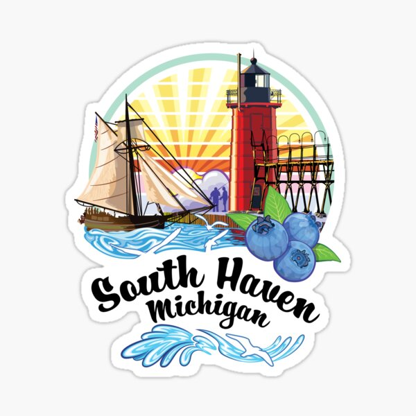 South Haven Michigan USA Lighthouse on South Pier with Tall Ship and  Blueberries Sticker