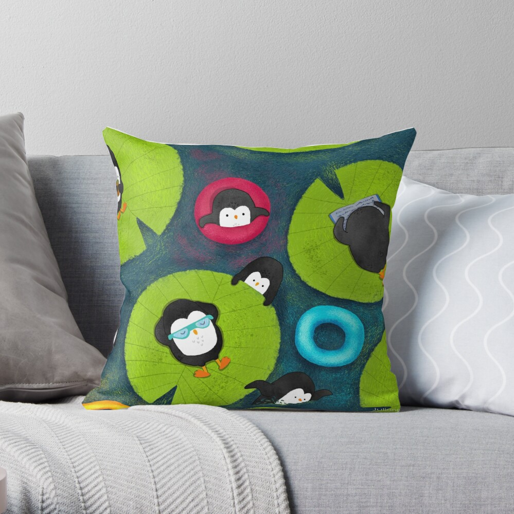Penguins Resort Throw Pillow