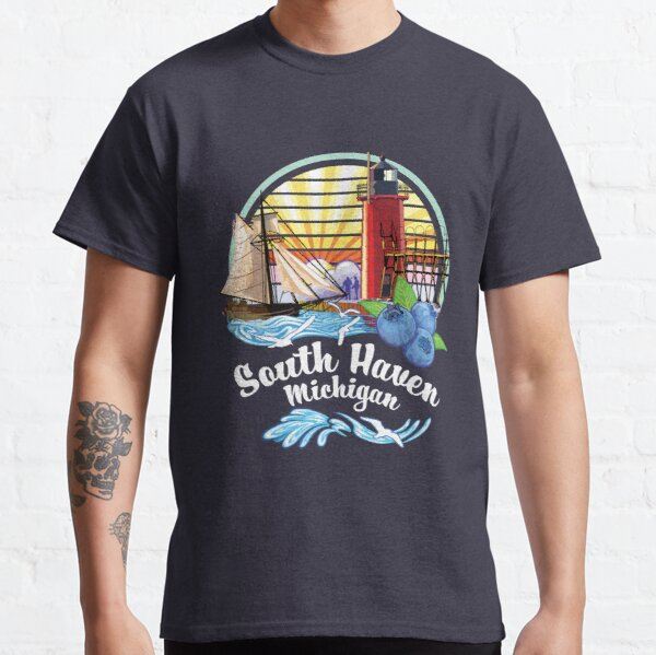 South Haven Michigan USA Lighthouse on South Pier with Tall Ship and  Blueberries Classic T-Shirt