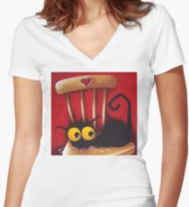 Stressie Cat's chair Women's Fitted V-Neck T-Shirt