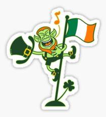 Green Leprechaun Singing on a Flag Pole Sticker