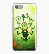 Leprechaun Juggling Beers and Irish Flag iPhone Case/Skin