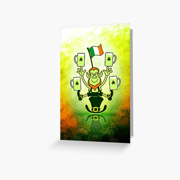 Leprechaun Juggling Beers and Irish Flag Greeting Card