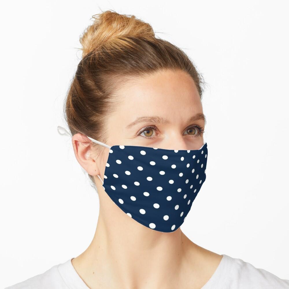 navy polka dots mask Mask