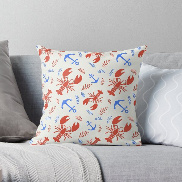 Lobster Nautical Red White and Blue Pattern Throw Pillow