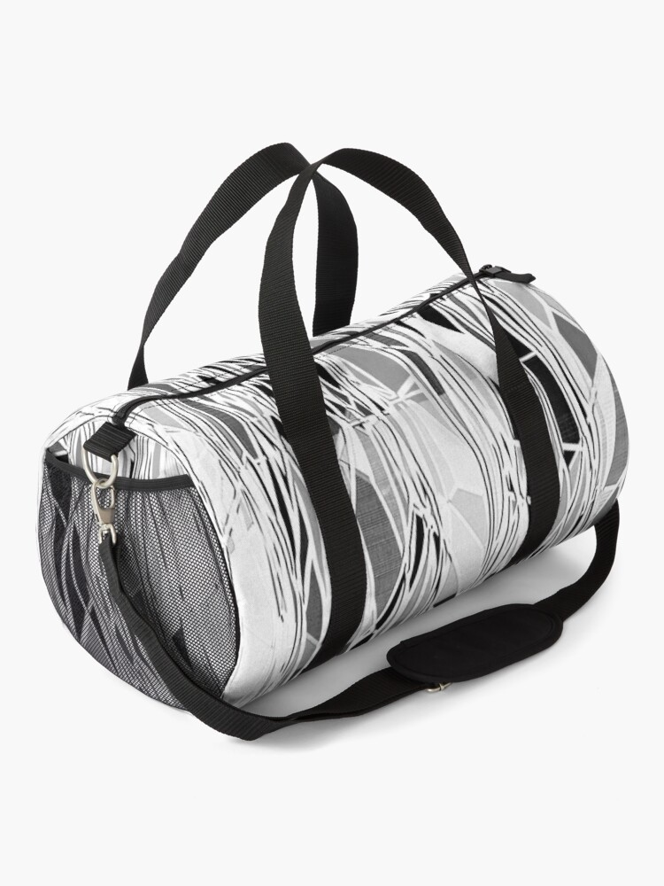 Alternate view of Abstract Black and White Lines Pattern Duffle Bag