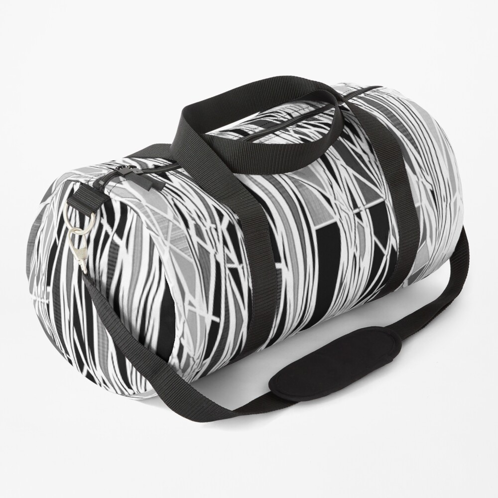 Abstract Black and White Lines Pattern Duffle Bag
