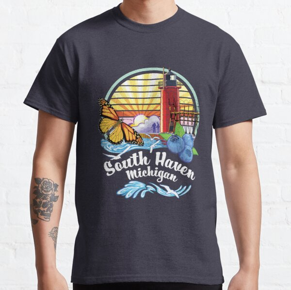 South Haven Michigan USA Lighthouse on South Beach Pier with Monarch Butterfly and Blueberries Classic T-Shirt