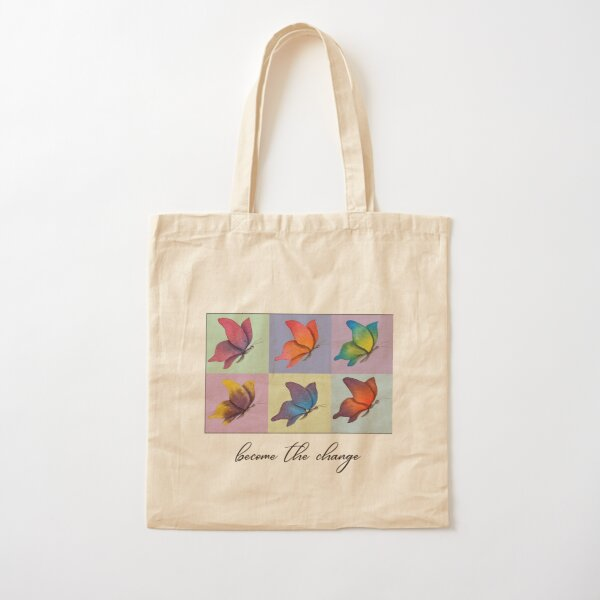 Colorful Butterflies Repeat Watercolor Art Cotton Tote Bag