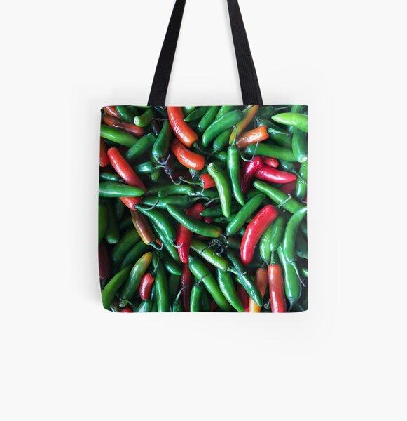 Shopping Bag Handbag Funky Vegetable Mixed Chili  Chilli Pepper Tote Bag Canvas Beach Bag
