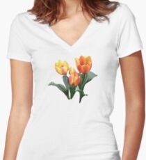 Orange and Yellow Tulips Women's Fitted V-Neck T-Shirt