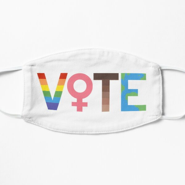 VOTE graphic- LGBTQ+, Feminism, BLM, and Climate Change Flat Mask