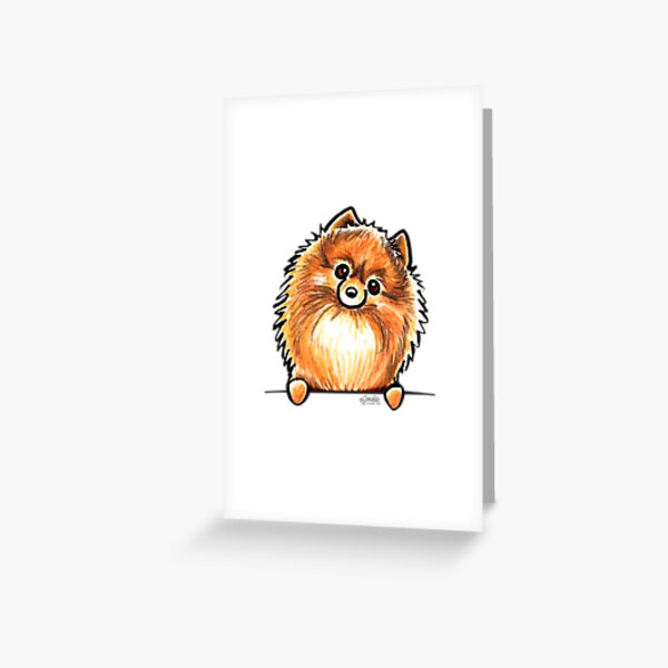 Red Pomeranian Paws Up Greeting Card
