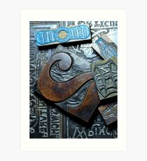 Vintage wooden printing blocks Art Print