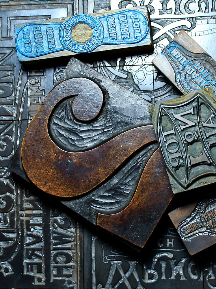 Vintage wooden printing blocks by AndyLanhamArt