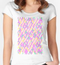 Geometric Lanes (Glam Pink/Yellow/Teal) Women's Fitted Scoop T-Shirt