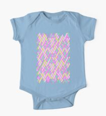Geometric Lanes (Glam Pink/Yellow/Teal) One Piece - Short Sleeve