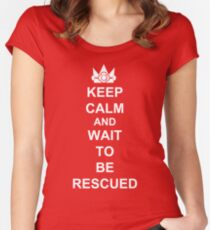 KEEP CALM AND WAIT TO BE RESCUED DAISY Women's Fitted Scoop T-Shirt