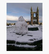 St Andrew's Cathedral and Snowman, St Andrews, Fife Photographic Print