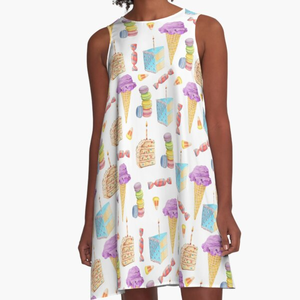 Dessert Pattern with Ice Cream, Cake, Candy, and Macaroons A-Line Dress