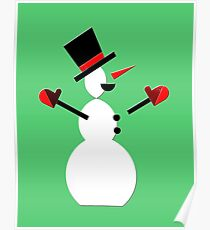 Snow Man in Holiday Poster