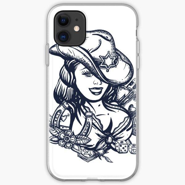Cowboy girl tattoo iPhone Soft Case