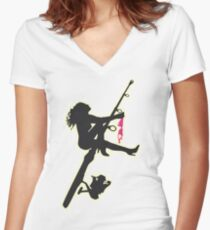 SEXY FISHING Women's Fitted V-Neck T-Shirt
