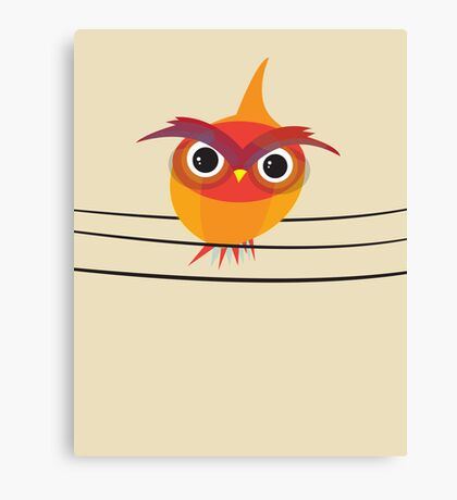 Owl on a Wire Canvas Print