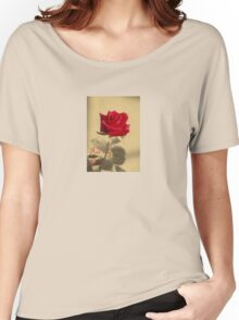 For My Love Vintage Valentine Greeting With Red Rose Women's Relaxed Fit T-Shirt