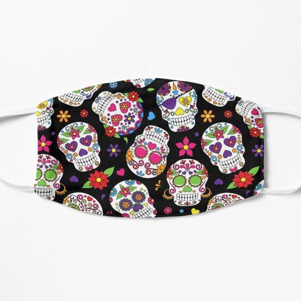 Sugar Skull Flower Black Pattern Flat Mask