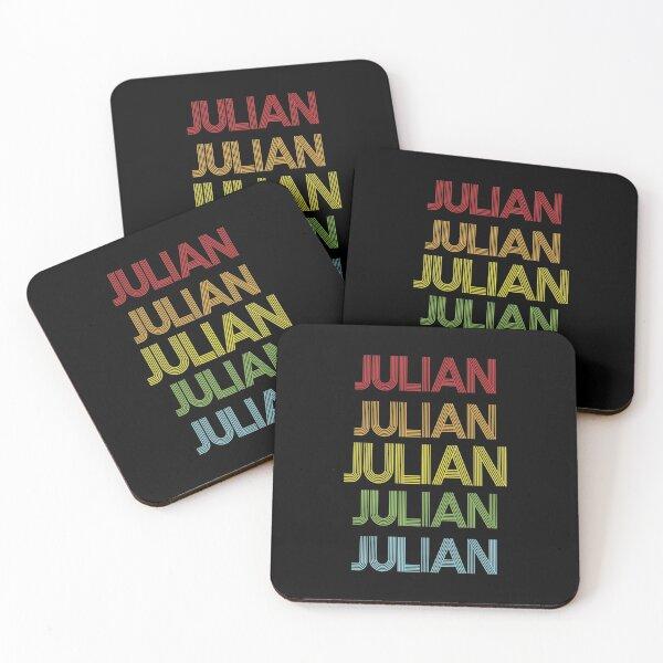 Julian Name - Julian Rainbow Multi Color Gift For Family Surname Julian Name Coasters (Set of 4)