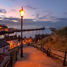 Street Light on Whitby Steps by Robin Whalley