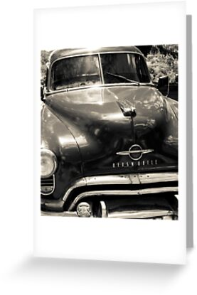 Classic American Oldsmobile car in black and white. by brians101