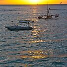 Sunset over Waikiki Bay by David Davies