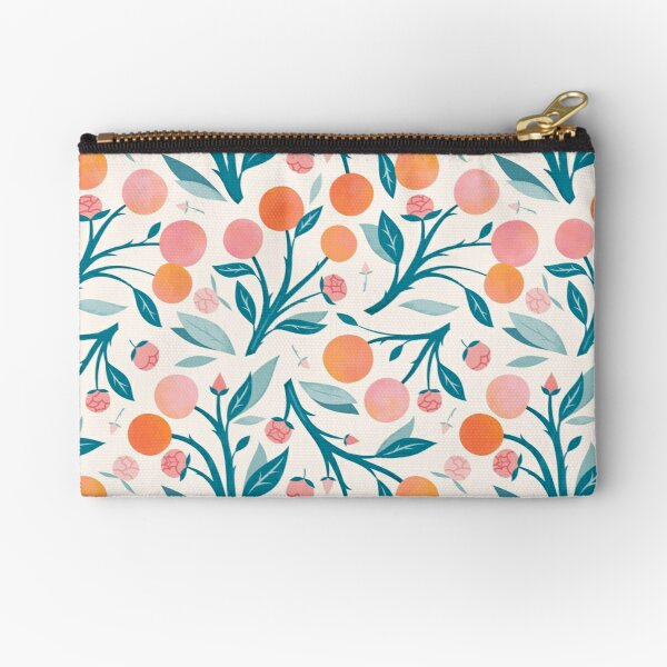 Peaches and Peony Buds Zipper Pouch