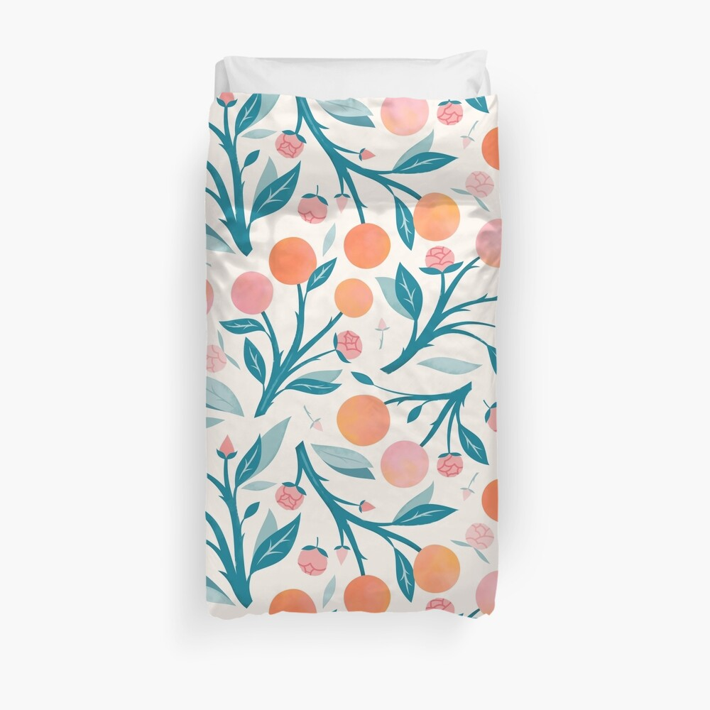 Peaches and Peony Buds Duvet Cover