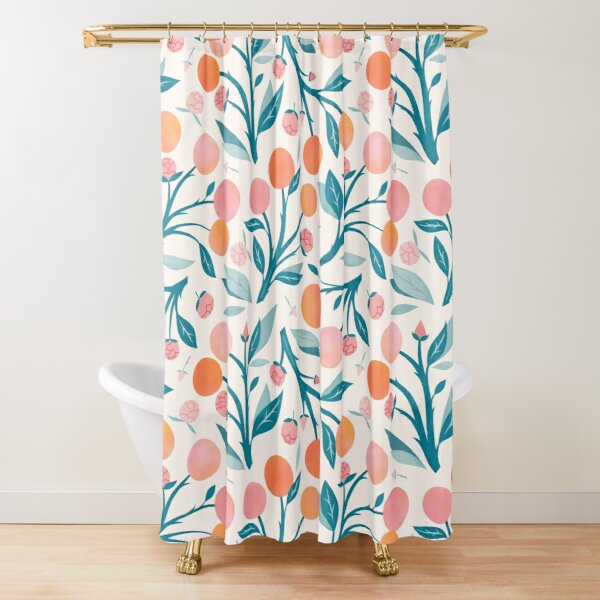 Peaches and Peony Buds Shower Curtain