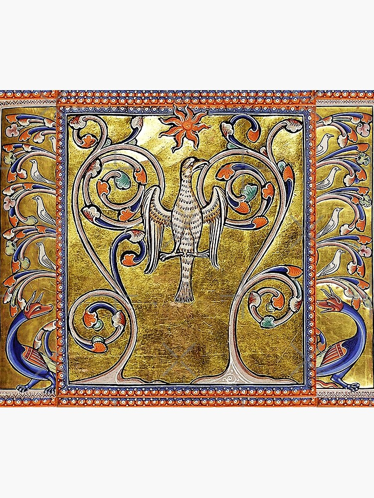 MEDIEVAL BESTIARY,PHOENIX,TREE OF LIFE ,BIRDS,DRAGONS FANTASTIC ANIMALS IN GOLD RED BLUE COLORS by BulganLumini