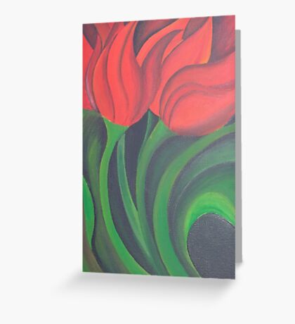 Red Tulip Diptych (Left) Greeting Card