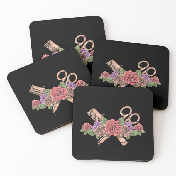 Hairdresser Flowery Style Coasters (Set of 4)