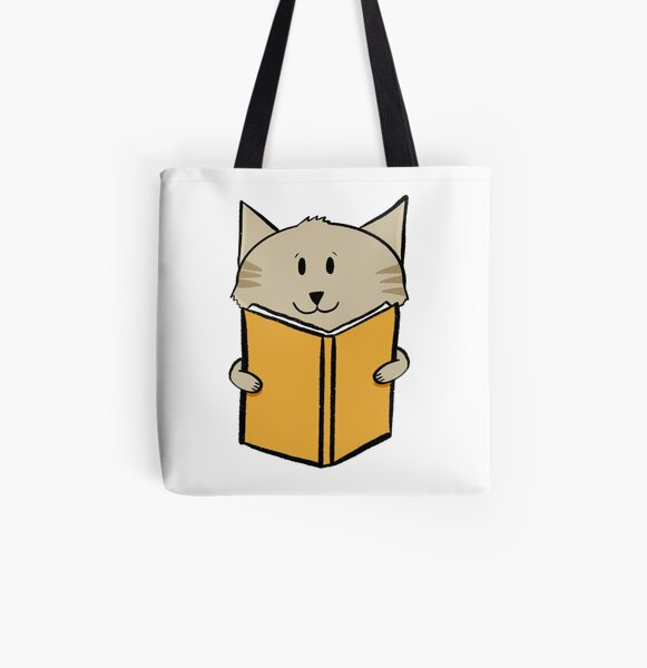 Reading cat All Over Print Tote Bag