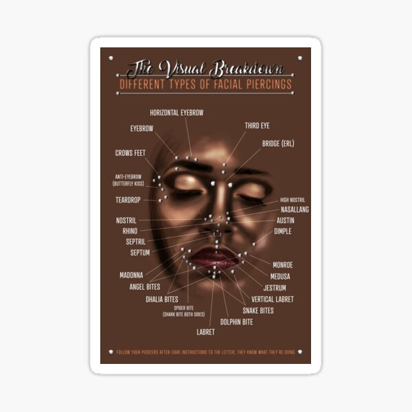 Facial Piercing Infographic Chart Sticker