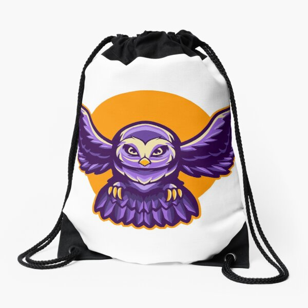 The sun owl violet Drawstring Bag