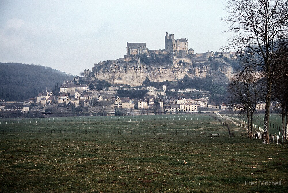 Chateau Beynac from the river flats of the Dordogne 19840227 0016 by Fred Mitchell