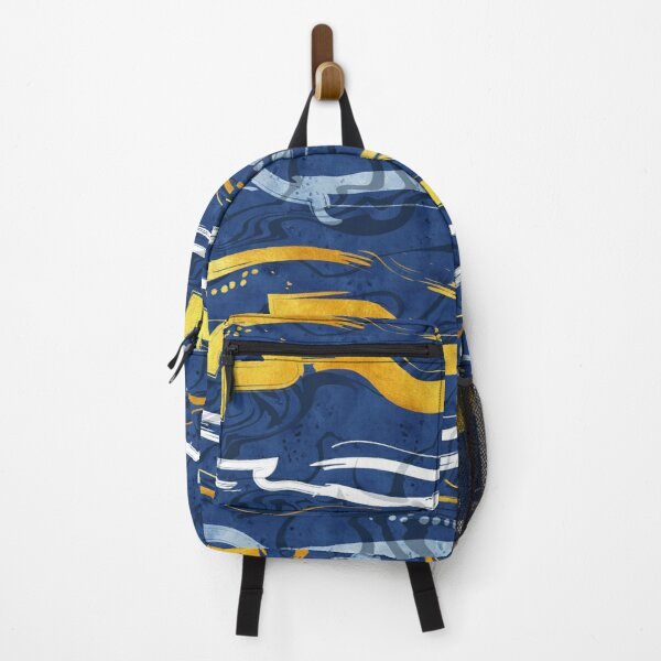 Abstract dragon fire water reflexions // blue and gold Backpack