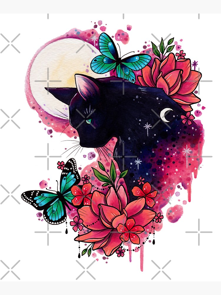 Midnight Cat watercolor design by lornalaine