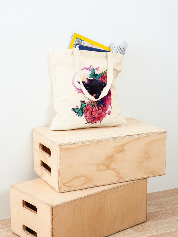 Alternate view of Midnight Cat watercolor design Tote Bag