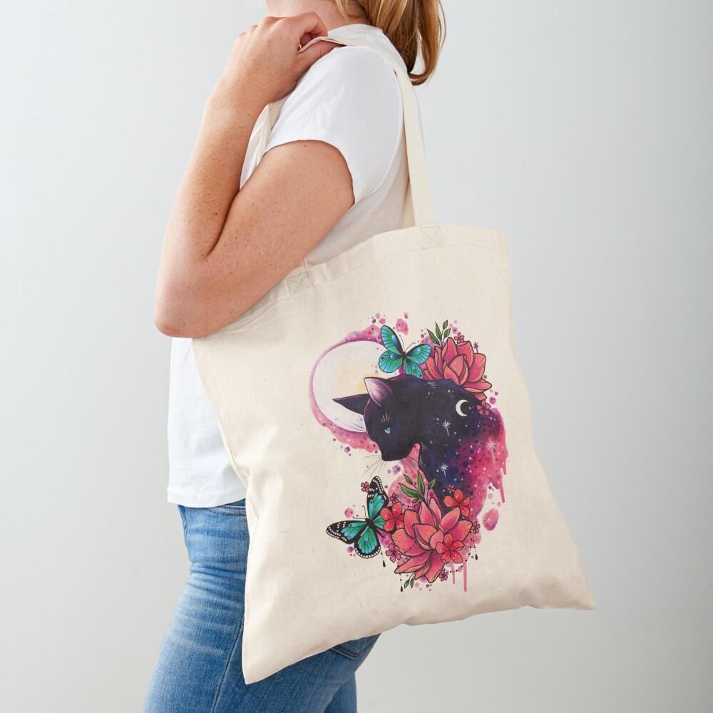 Midnight Cat watercolor design Tote Bag