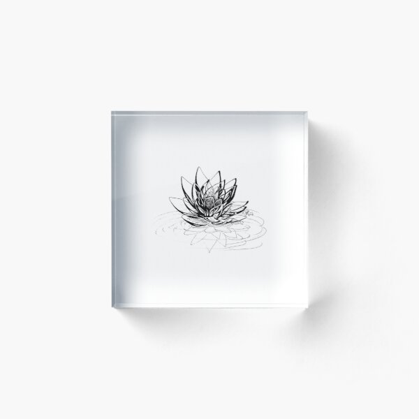 Glass Lotus Acrylic Block